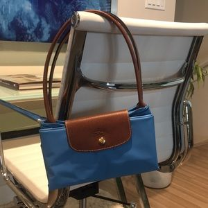 Longchamp bright blue fold out carryall